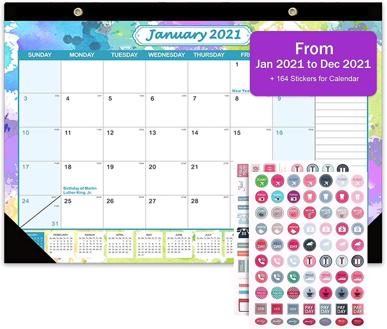 Desk Calendar 2021, Wall Calendar 12 Monthly Desktop Pad Calendar 17