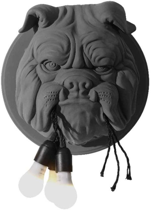 Uziqueif Creative Vintage Bulldog Wall Light LED Decorative Wall Lamp Retro Industrial Resin Dog Head Wall Lighting for Villa Bedroom Loft Corridor Decoration Domineering Ø41cm E27 × 3,Black