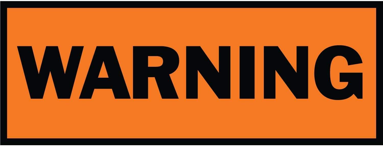 HALF PRICE BANNERS   Warning Vinyl Banner -Heavy Duty Outdoor 3X8 Foot -Orange   Includes Zip Ties   Easy Hang Sign-Made in USA