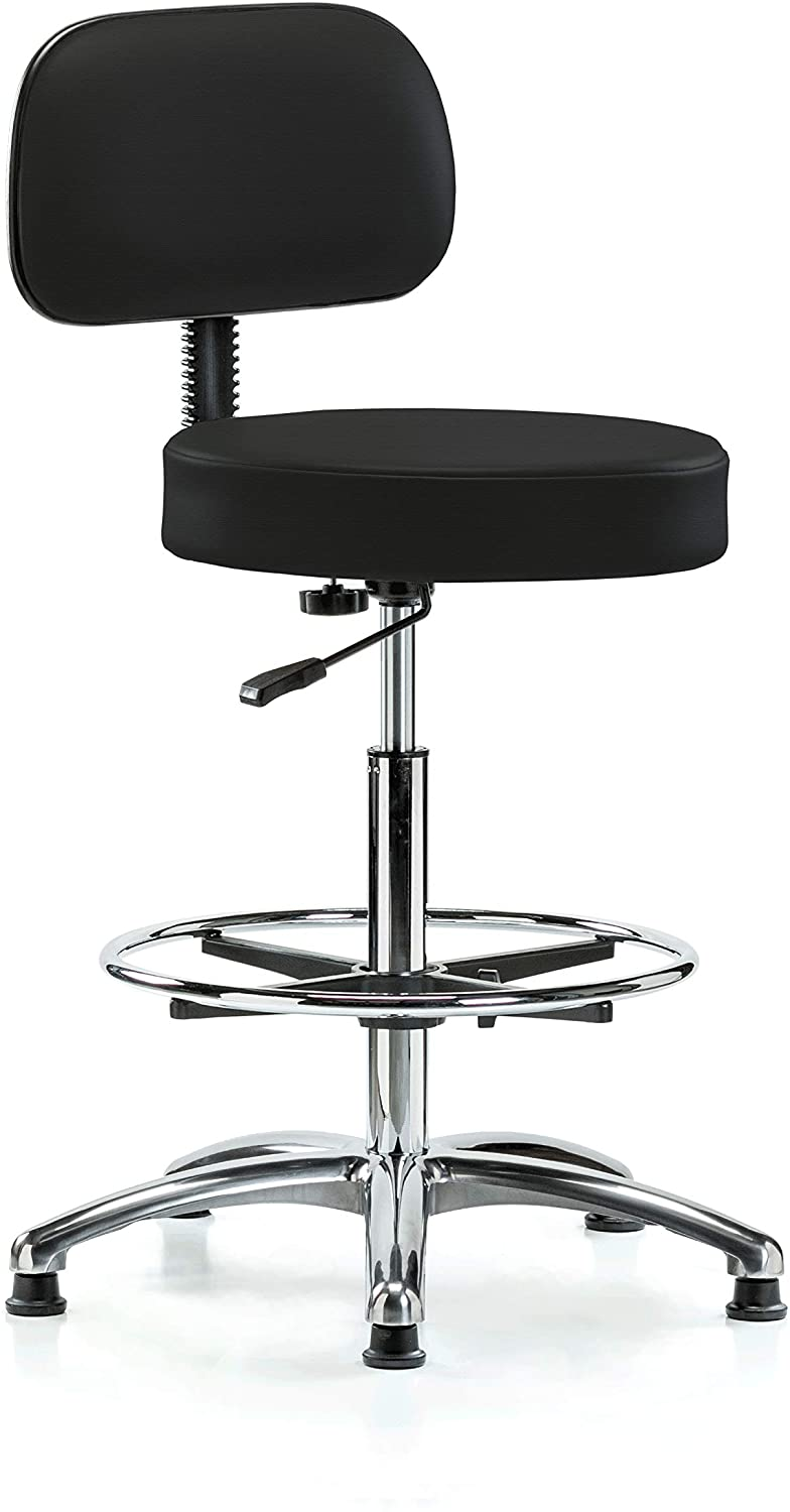 Perch Chrome Walter Exam Stool with Backrest Support and Foot Ring, Stationary Caps, Counter Height, Black Fabric