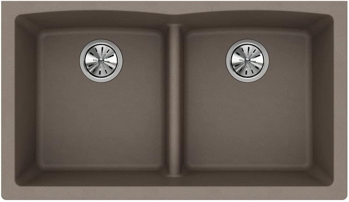 Elkay Quartz Classic ELGDULB3322GR0 Greige Equal Double Bowl Undermount Sink