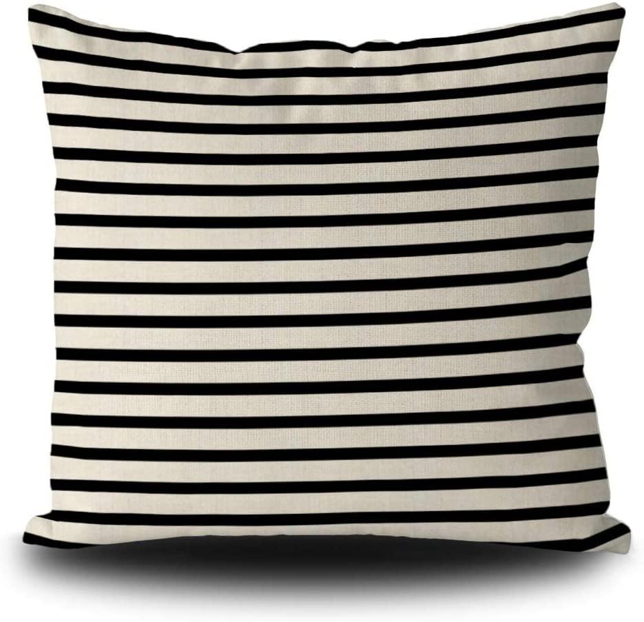 SVITFAMLI Throw Pillow Cover Black and White Stripes Modern Decorative Pillow Case Home Decor Square 20 x 20 Inch Linen Pillowcase for Couch Sofa