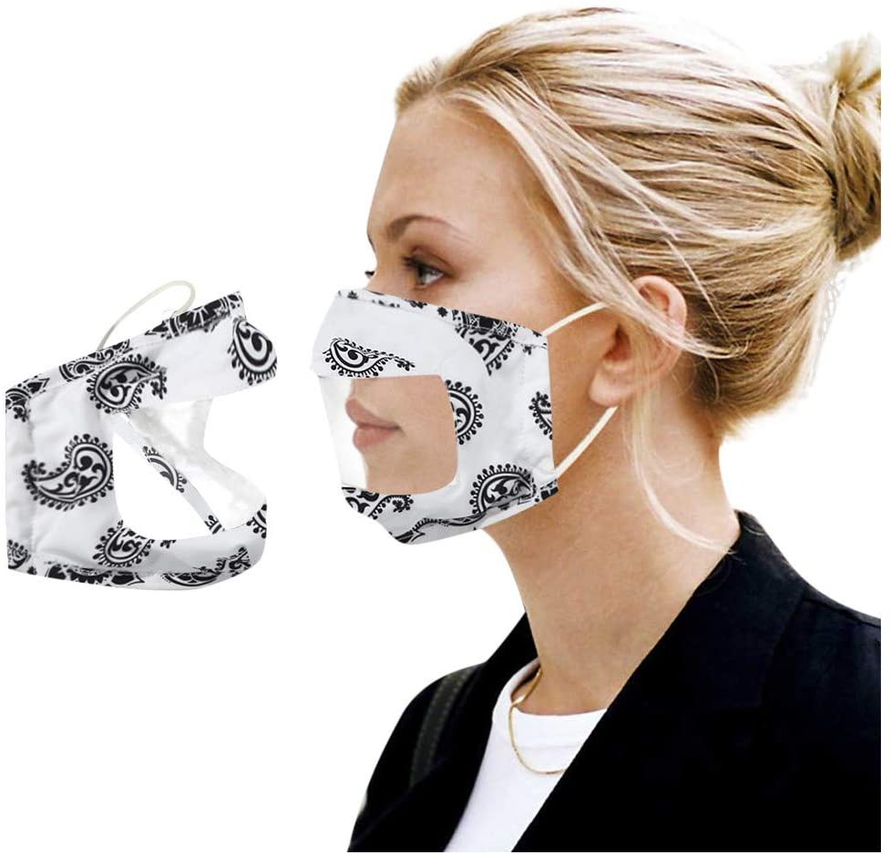 Pacoco Clear Face Covering Anti Fog Durable Transparent,Face cover Plastic Reusable for Both Men and Women General Use