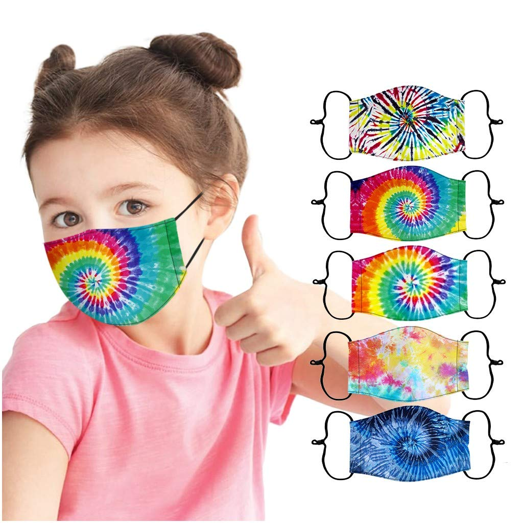 OMGYST 5Pcs Bandana Kids_Face_Mask_Washable, Tie dye Children Reusable and Breathable Cotton Covering with Replaceable Filters Pattern Adjustable Mouth Protection