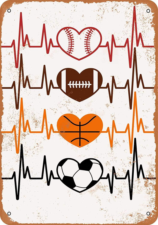 Baseball Football Basketball Soccer Love Heartbeats Vintage Look 8x12 Inches Metal Tin Sign Retro - Wall Decor Plaque Poster