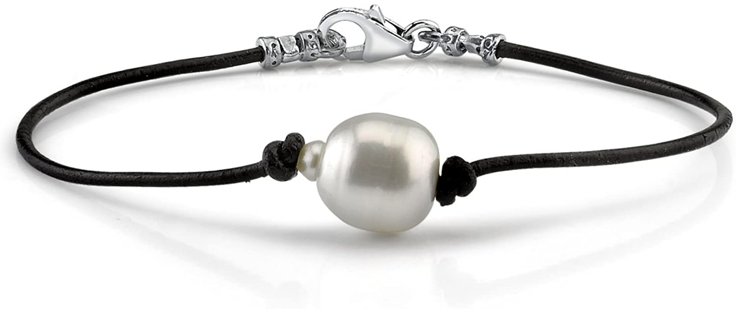 THE PEARL SOURCE Sterling Silver 13-14mm AAAA Quality Baroque South Sea Cultured Pearl Leather Bracelet for Women