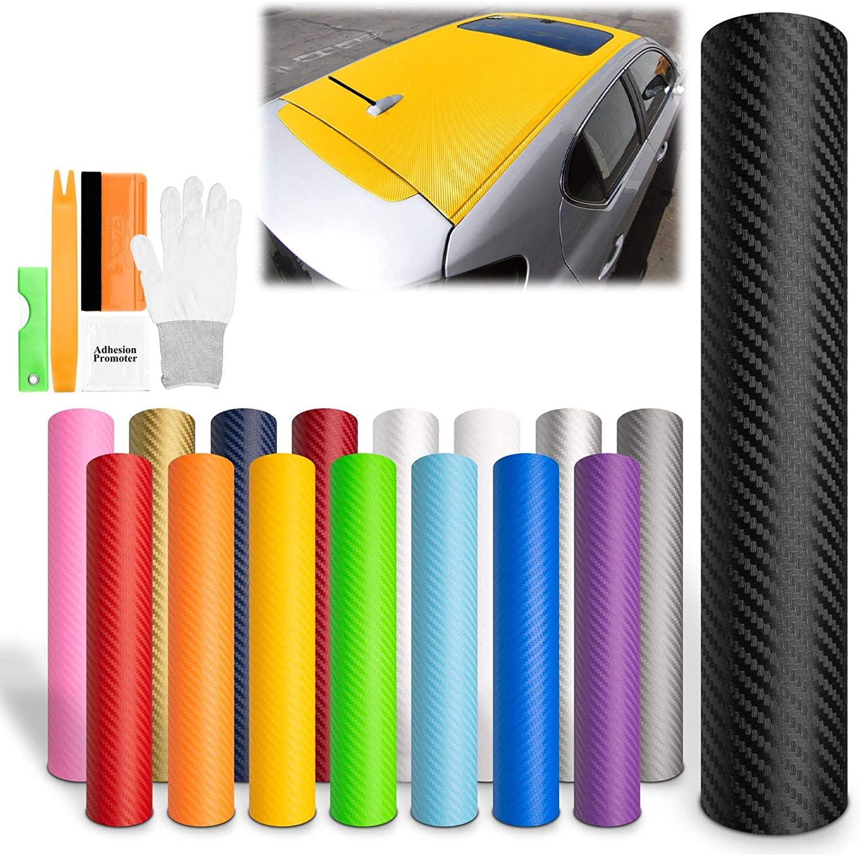 EZAUTOWRAP Free Tool Kit Yellow 3D Carbon Fiber Textured Matte Car Vinyl Wrap Sticker Decal Film Sheet - 60