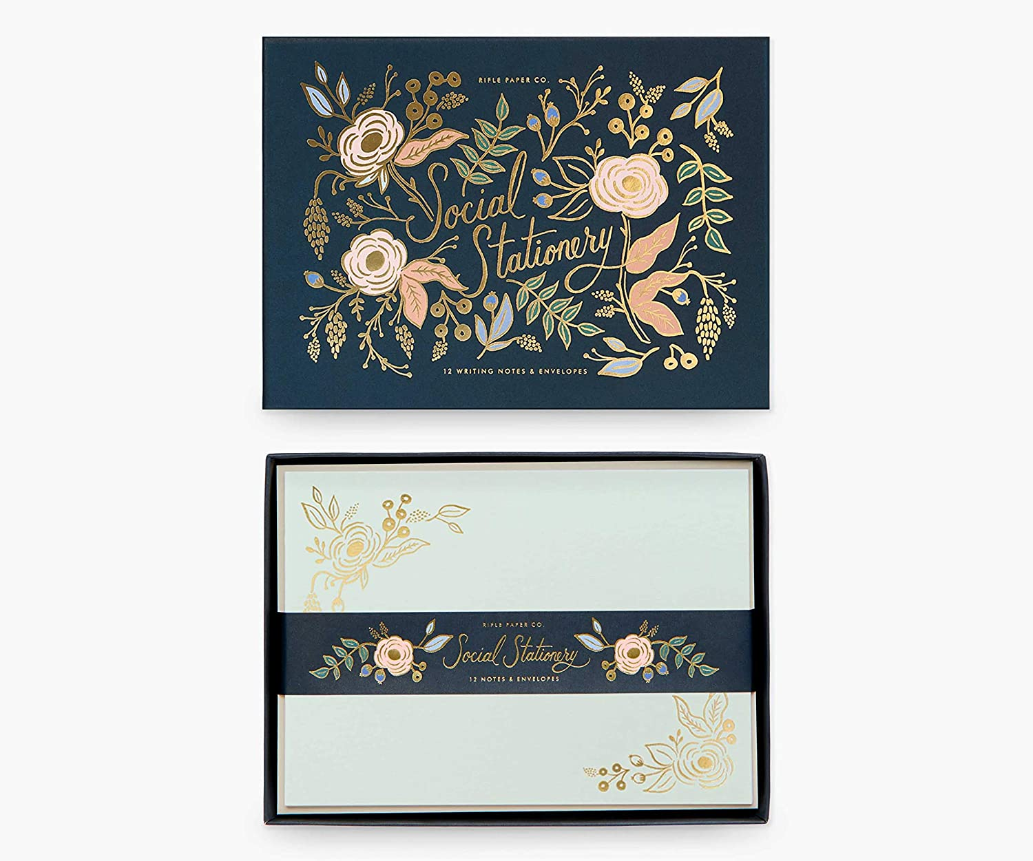 Rifle Paper Co. Colette Social Stationery Set, Our Social Stationery Sets Include 12 Cover-Weight Flat Notes, Each with a Three-Count of Four Different Designs, and Envelopes Insides a Matching Box