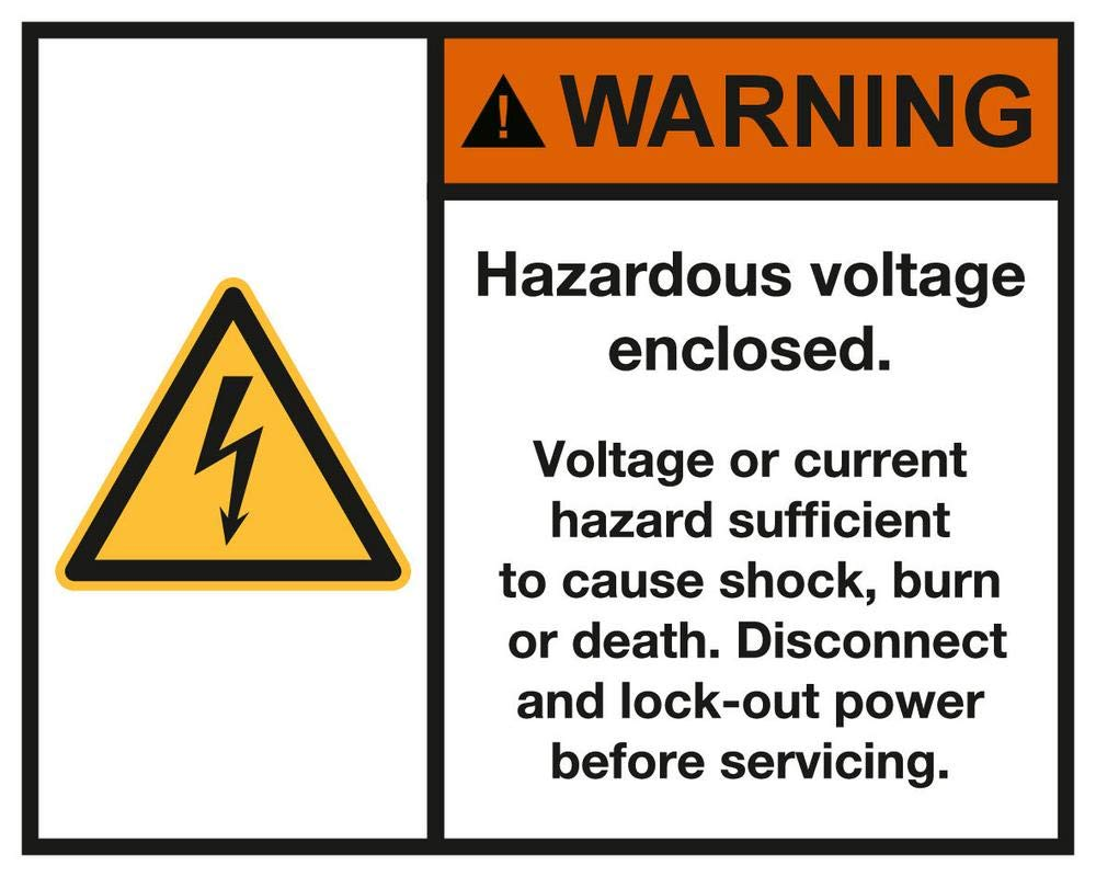 Warning Hazardous Voltage Enclosed Sticker, Vinyl 4 x 3 inches Warning Caution Sign, ANSI Z535, Pack of 5