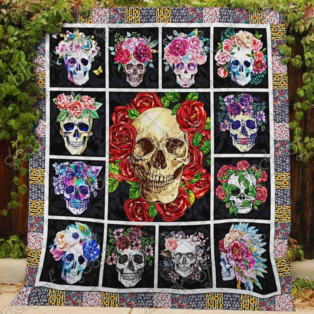 GEEMBI Quilt Bedding Printed-Flower Skull Quilt NP194, King Size Coverlet Quilt for All Season-Soft Microfiber Bedspread-Quilts Gifts (King,Queen,Twin)