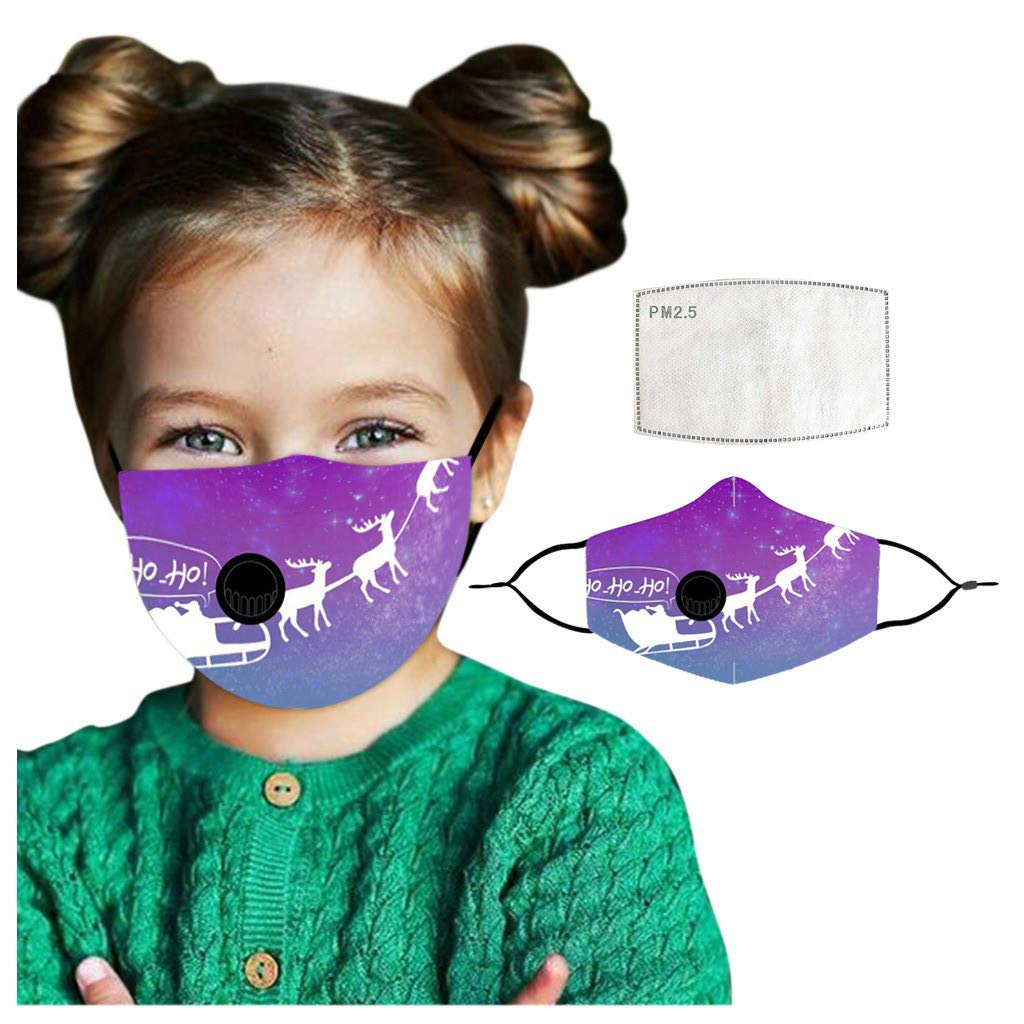 Kids Christmas Face_Mask_Washable & Reusable with 1PC Filter Pad, Cute Cotton Dustproof Windproof for Children Boys Girls Bandanas Outdoor Activities