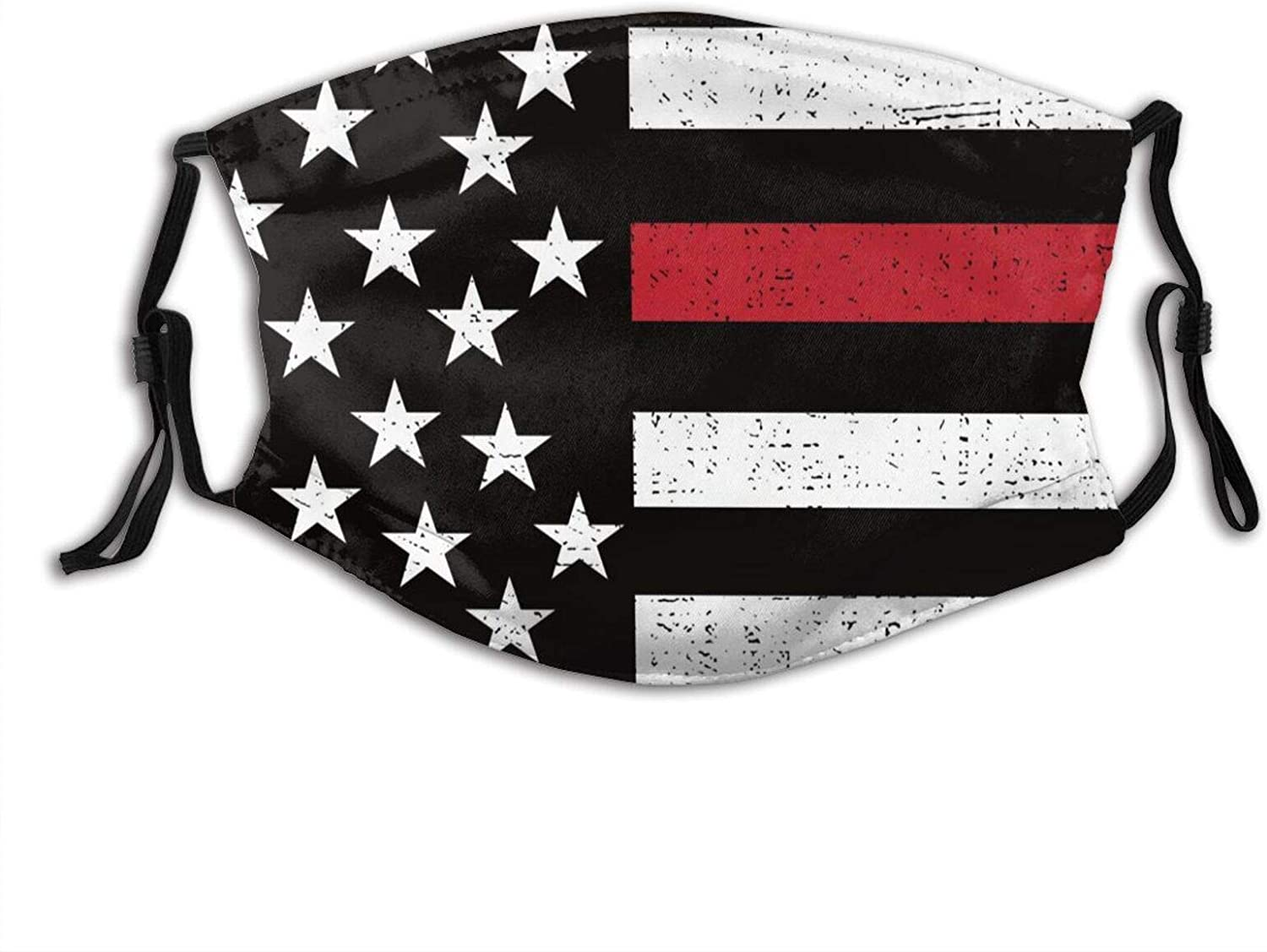 American Firefighter Red Line Flag Face Mask Reusable Washable Cloth Face Bandanas Balaclava For Men Women