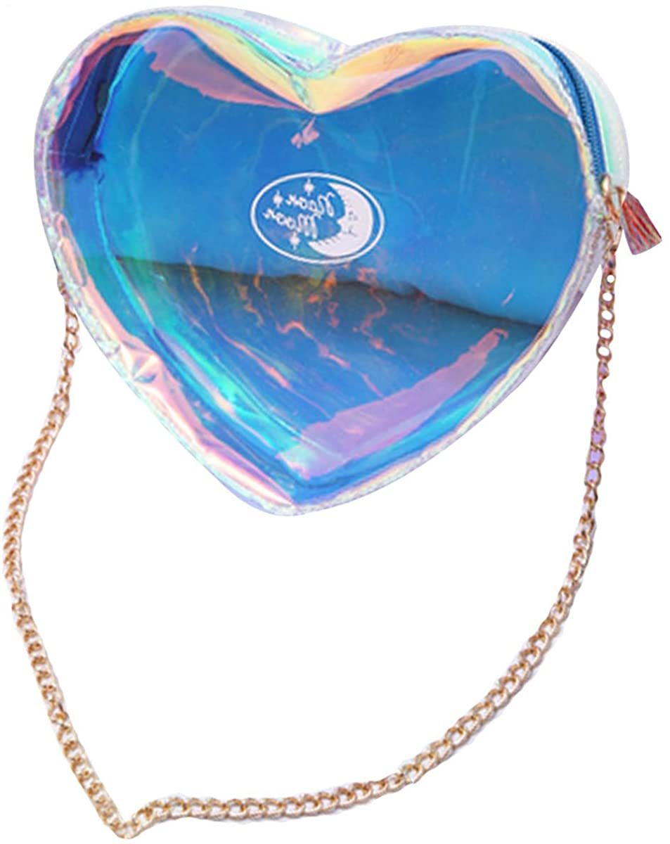 Buddy Clear Holographic Shining Shoulder Bag Lovely Heart-Shaped Chain Purse Cross Body Tote