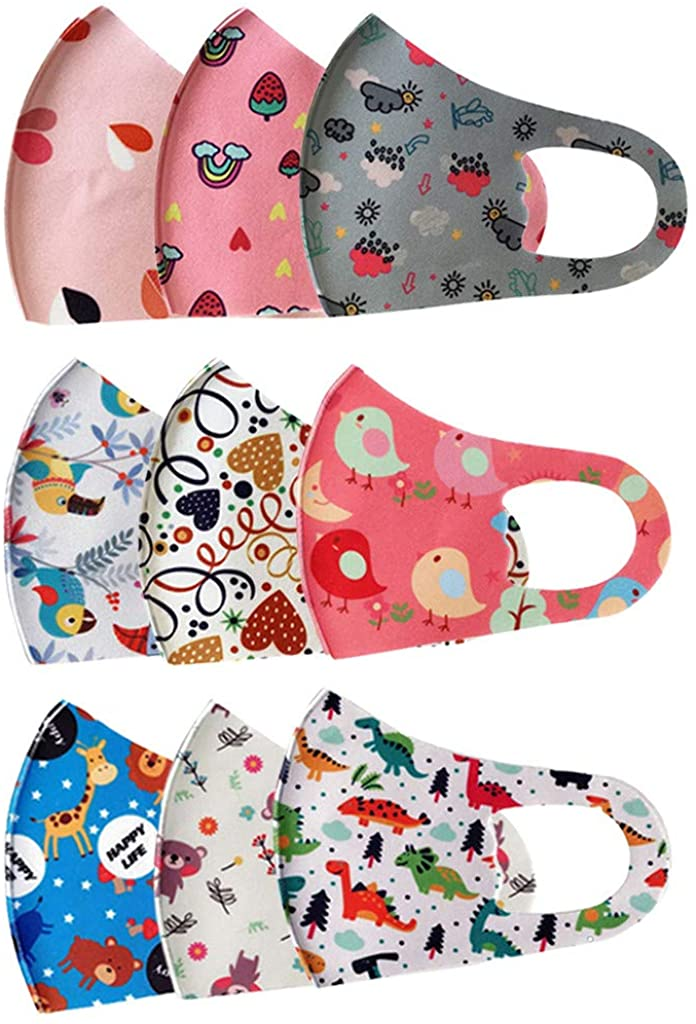 9/10 PC Kids Face Covering, Reusable with Ear Straps Cotton Cute Cartoon Face Bandanas with Printing Fits Toddlers to Teens