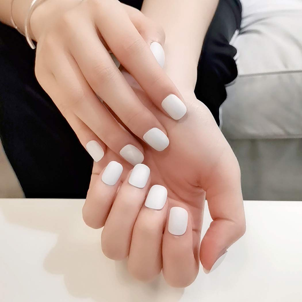 Abien Matte Press on Nails Pure Short Fake Nails Square Full Cover Artificial False Nail for Women and Girls (24 Pcs) (white)