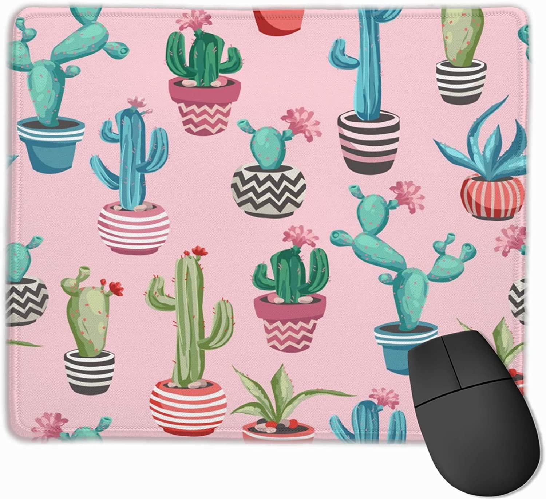 Cacti Flower Background Mouse Pad,Non-Slip Rubber Mousepad, Desk Accessories