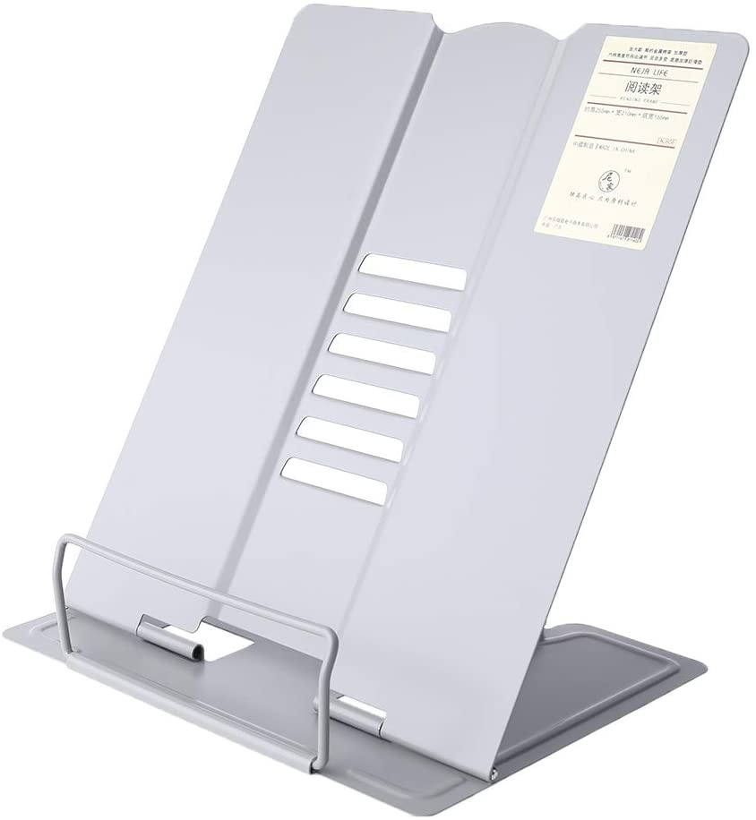 QINREN Metal Adjustable Reading Book Holder Bookend Stand Support Document Shelf Bookst,Grey,Metal