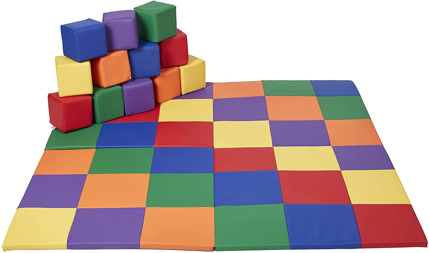 ECR4Kids Softzone Patchwork Toddler Mat with 12 Soft Blocks, Primary