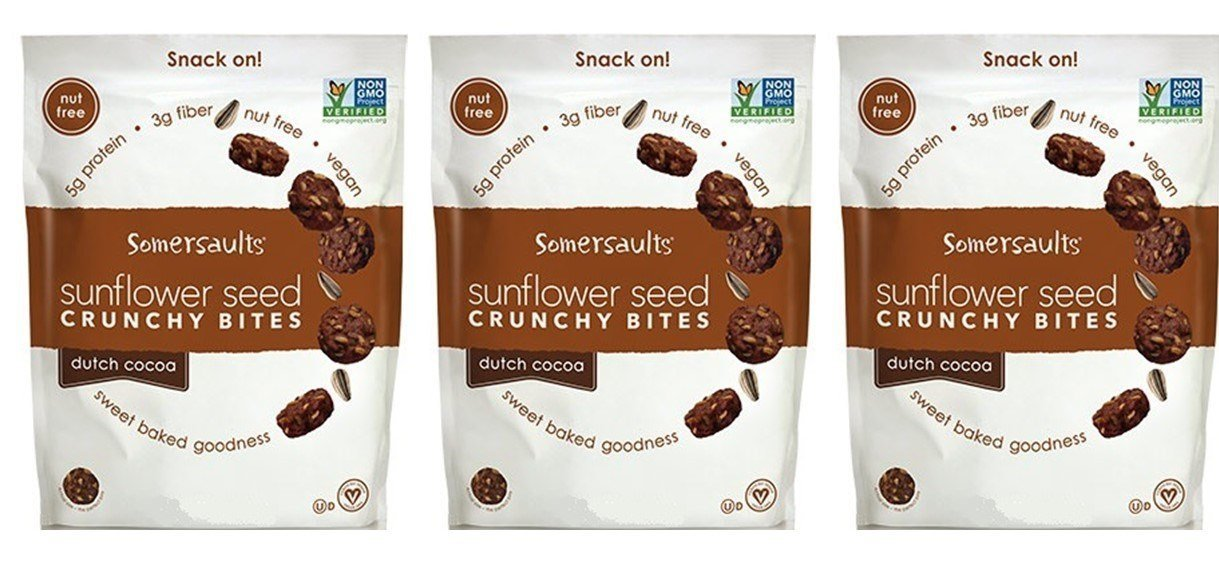 Somersaults Nut Free 100% Natural Sunflower Seed Snacks Dutch Cocoa Crunchy Nuggets - Pack of 3, 6 Oz. Ea.