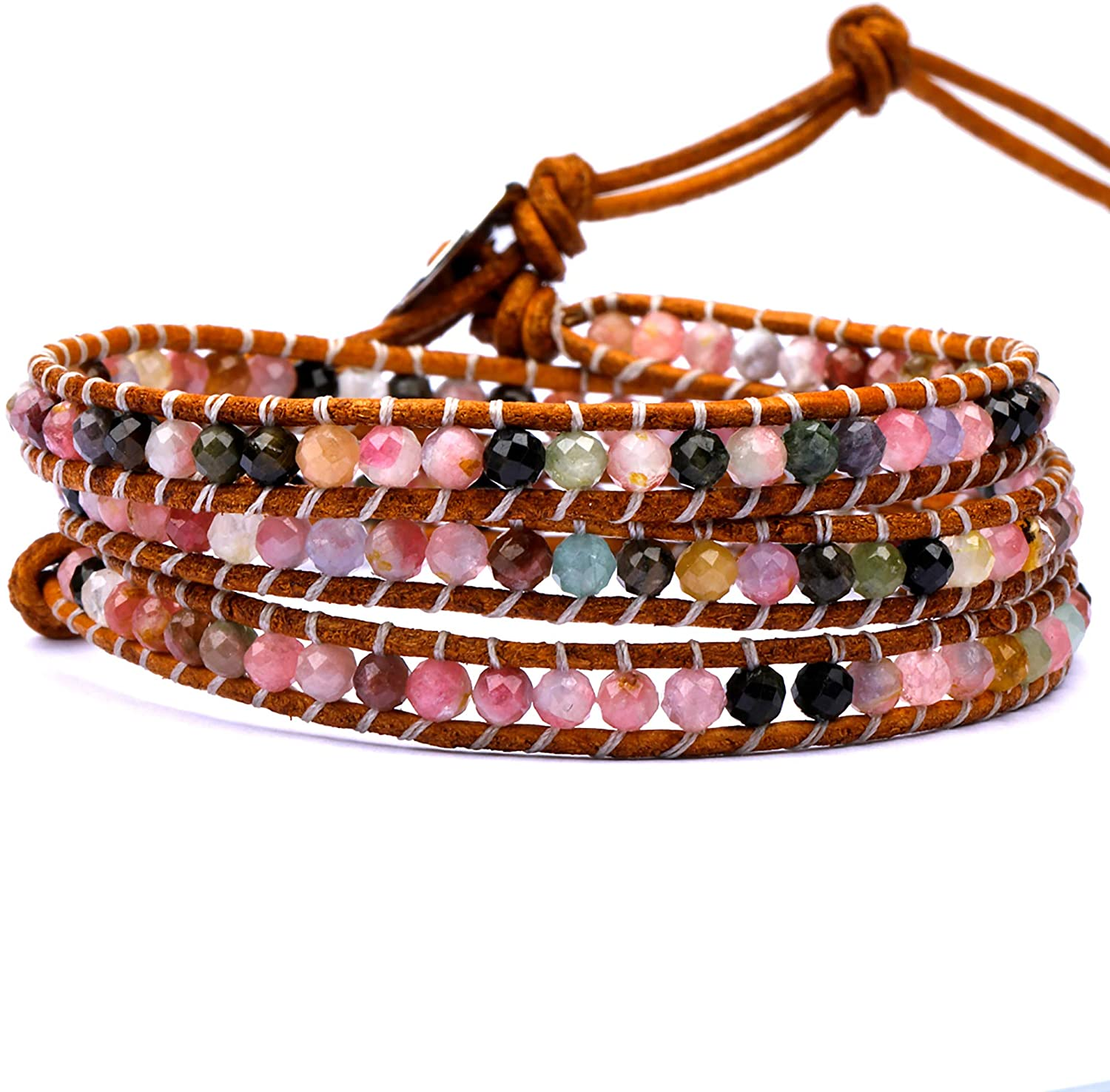 Layered Leather Bracelets for Women Jewelry Gift, Bohemian Style & Natural Round Faceted Stone Beads Braided 3 Wraps Adjustable Handmade Multilayer Wrap Bracelet With Stainless Steel Snap Button Lock