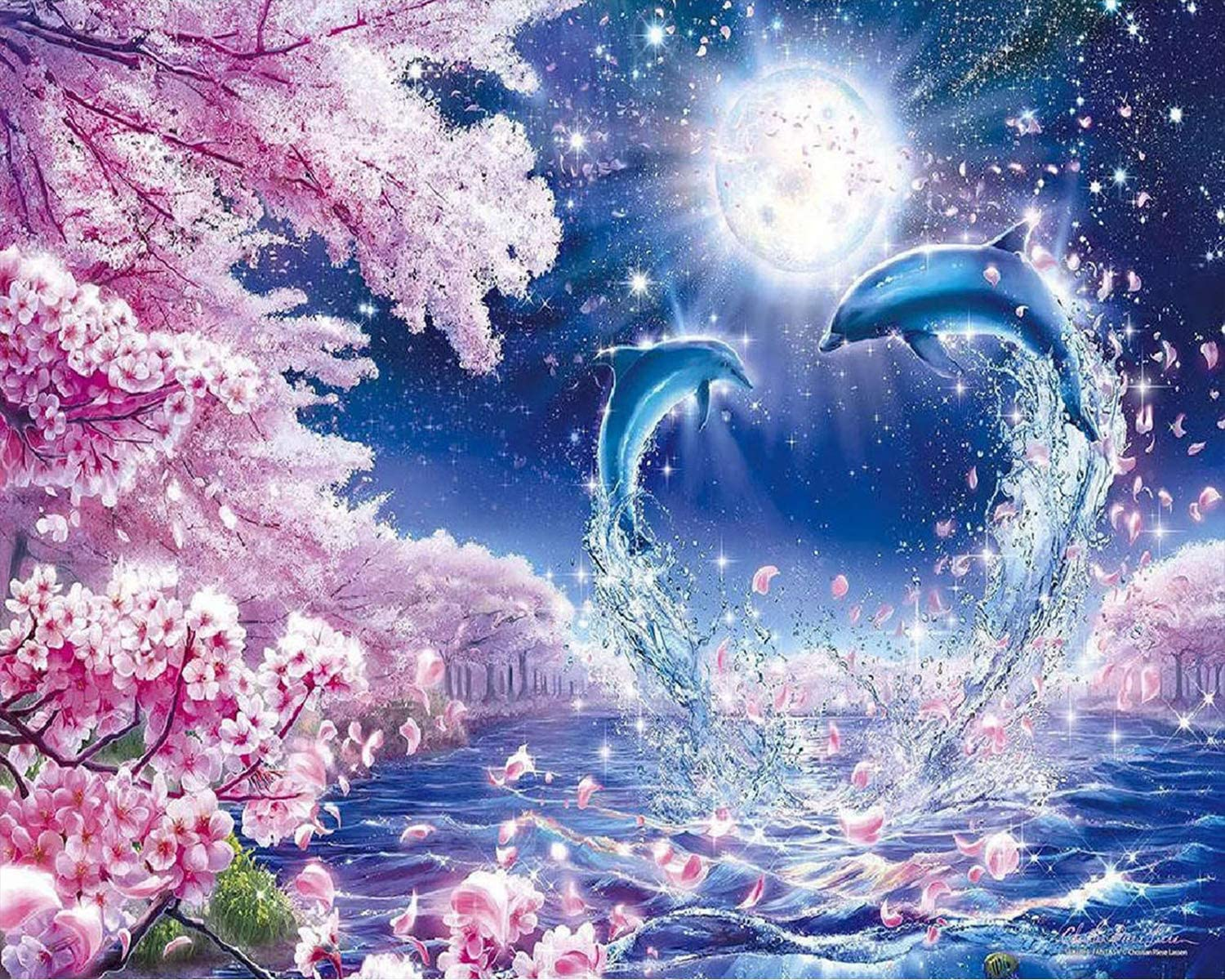 Ritoti DIY 5D Diamond Painting Kits for Adults Beginners Full Drill Crystal Rhinestone Pictures Arts Craft for Home Wall Decor(11.81x15.75 Inch,Romantic Dolphin Love)