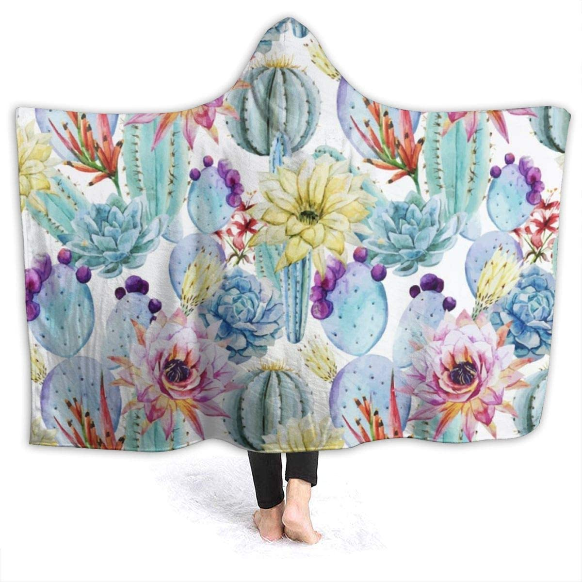 YongColer Luxury Polar Fleece Blanket Super Soft and Warm Fuzzy Plush Lightweight Throw Couch Bed Blankets - Cactus Succulents, 80