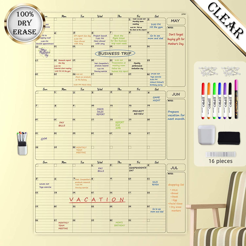 Transparent Dry Erase Wall Calendar - 36x52 Inches - Blank Undated Reusable Quarterly Calendar - Laminated Office Jumbo 3 Month Calendar (Vertical)