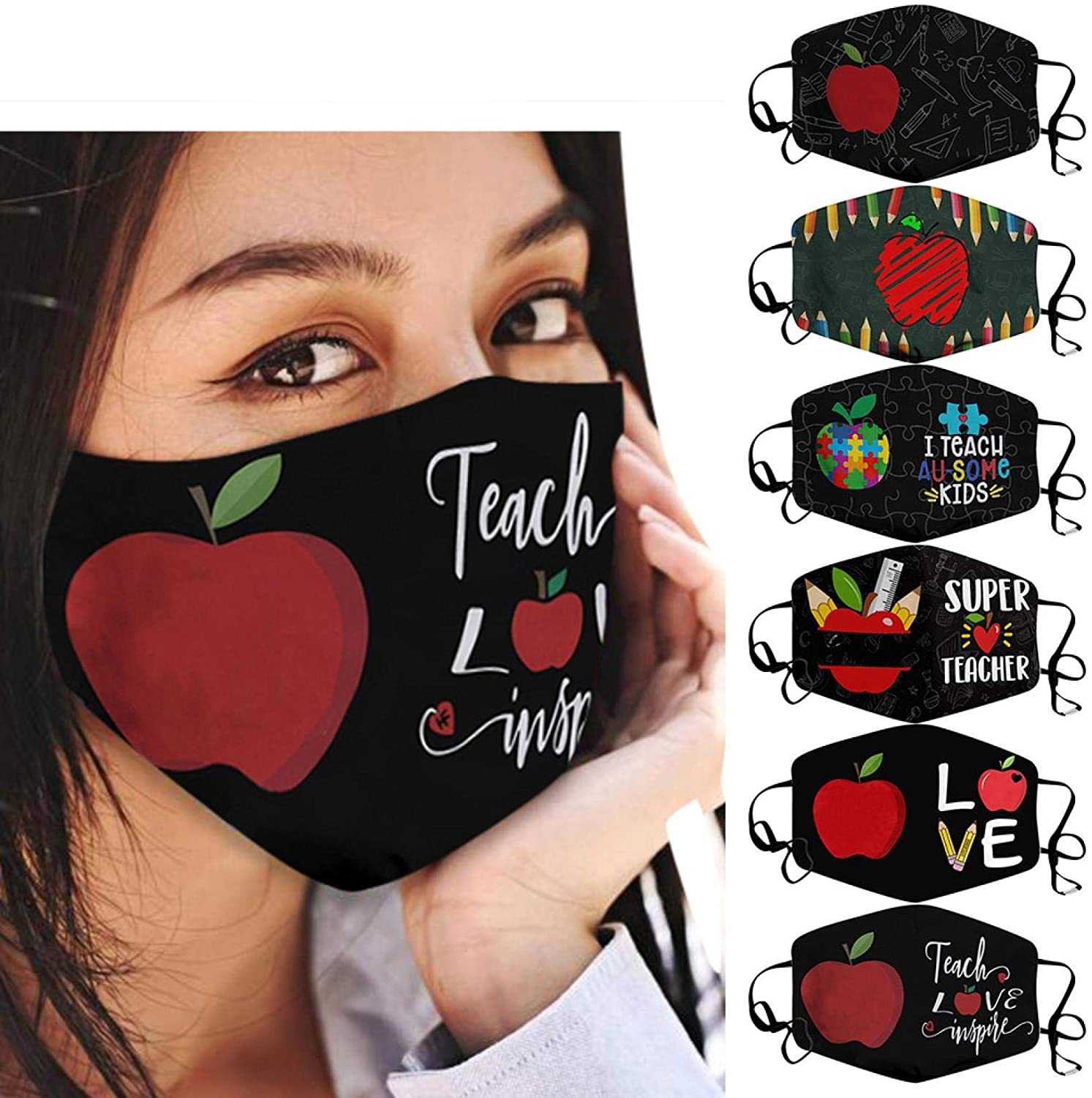 (5pc) Washable Face mask -Teaching is a Work of Heart for Women & Men - Happy Teacher Day - Reusable Face Covering - Flexible Nose Bridge - Adjustable Ear Bands (I-6pc)