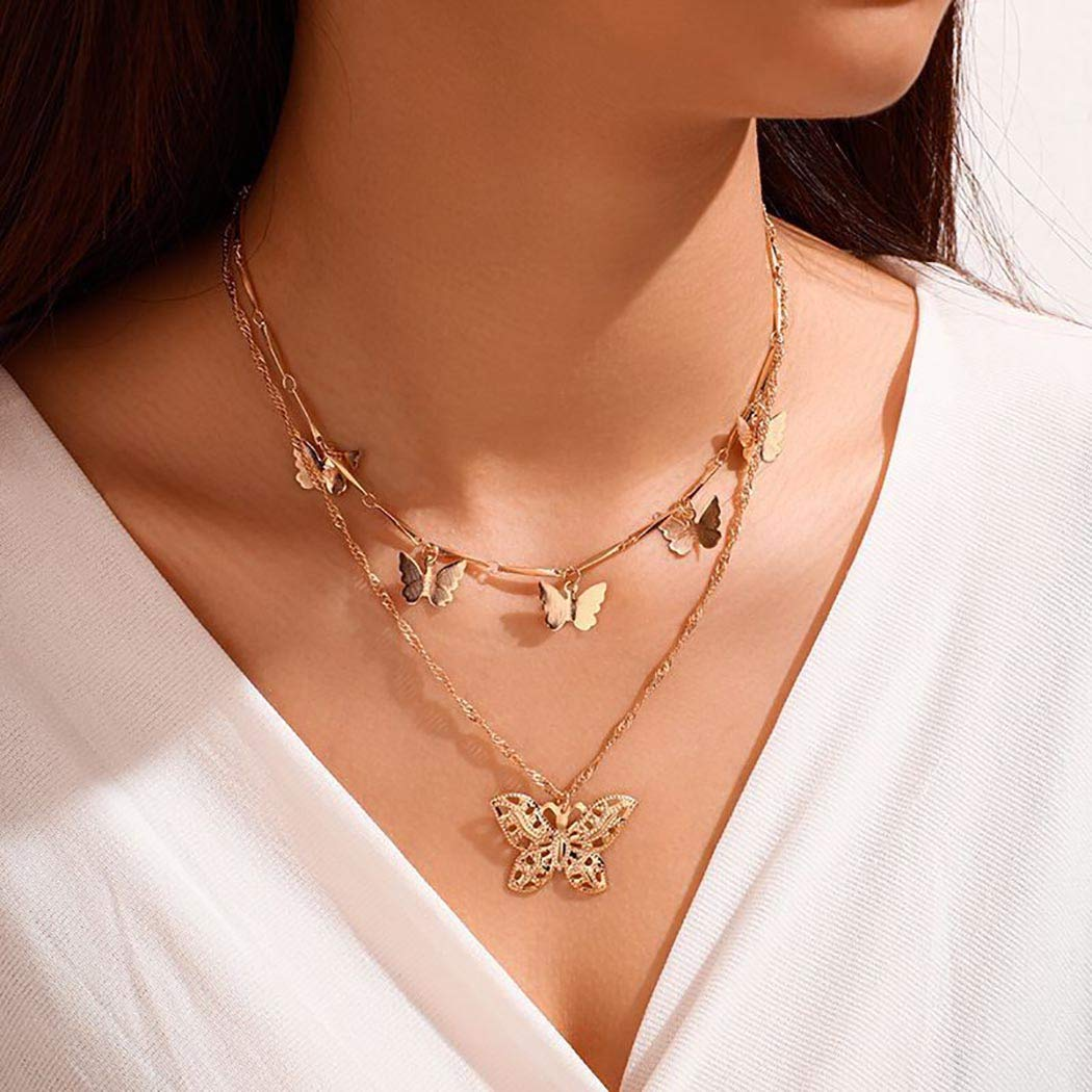 Jeweky Butterfly Necklace Layered Gold Pendant Necklaces Chain Jewelry for Women and Girls