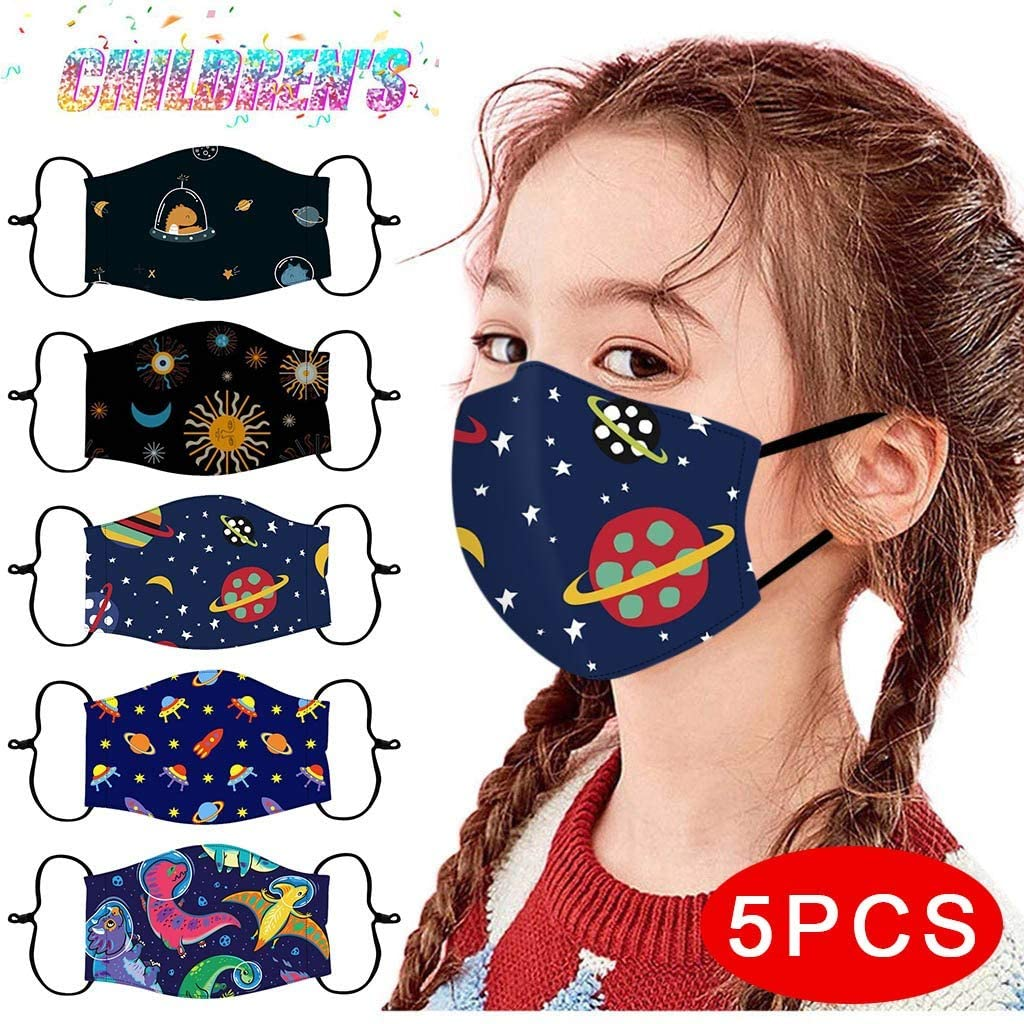 Reusable and Children Protective, 5Pcs Face Bandanas with Cute Pattern for Kids, Breathable and Anti-Haze Dust