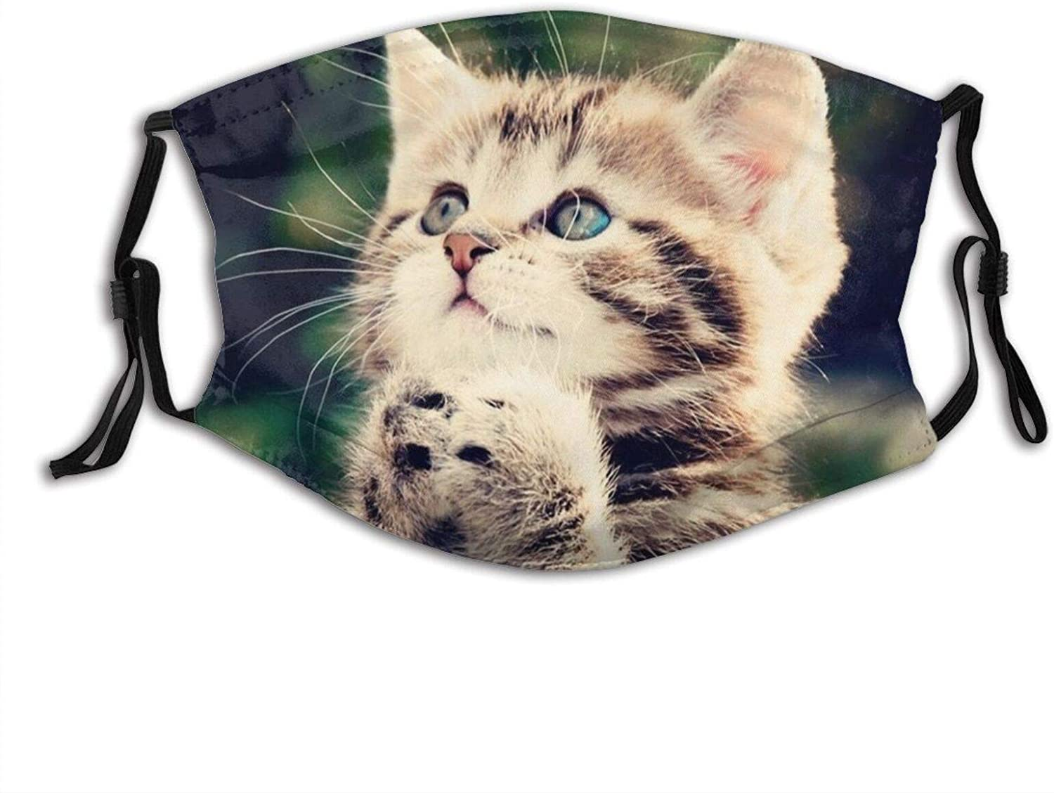 Cute Little Cat Face Mask With Filter Pocket Washable Reusable Face Bandanas Balaclava With 2 Pcs Filters