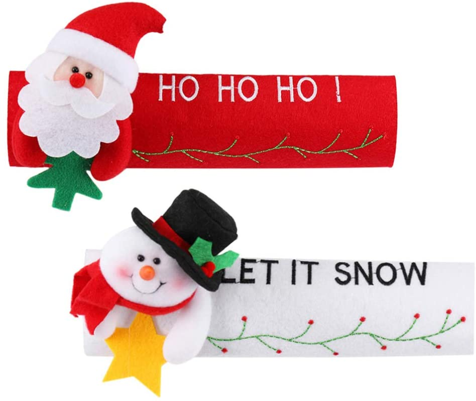YARNOW Christmas Refrigerator Door Handle Covers Set of 2, Santa Claus Snowman Kitchen Appliance Covers Fridge Microwave Oven Dishwasher Door Handle Protector Christmas Decorations