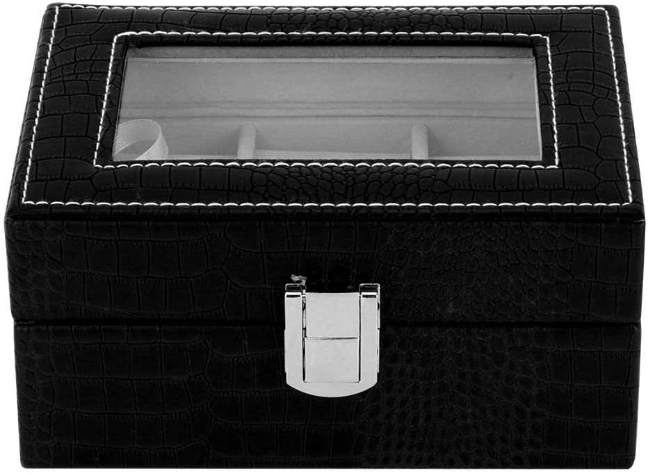 HERCHR Leather Jewlwey Box, Jewelry Travel Organizer for Rings Earrings Necklace Organizer(Black)