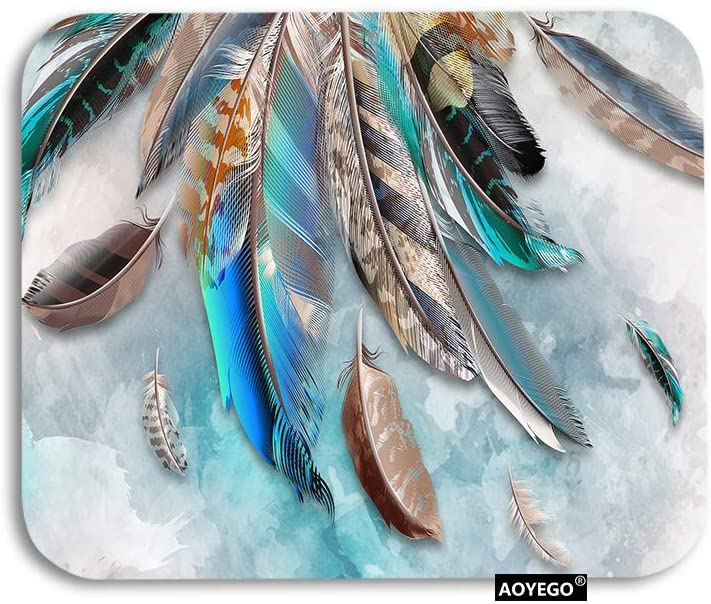 AOYEGO Boho Feather Mouse Pad Bohemian Tribal Animal Bird Feathers Gaming Mousepad Rubber Large Pad Non-Slip for Computer Laptop Office Work Desk 9.5x7.9 Inch