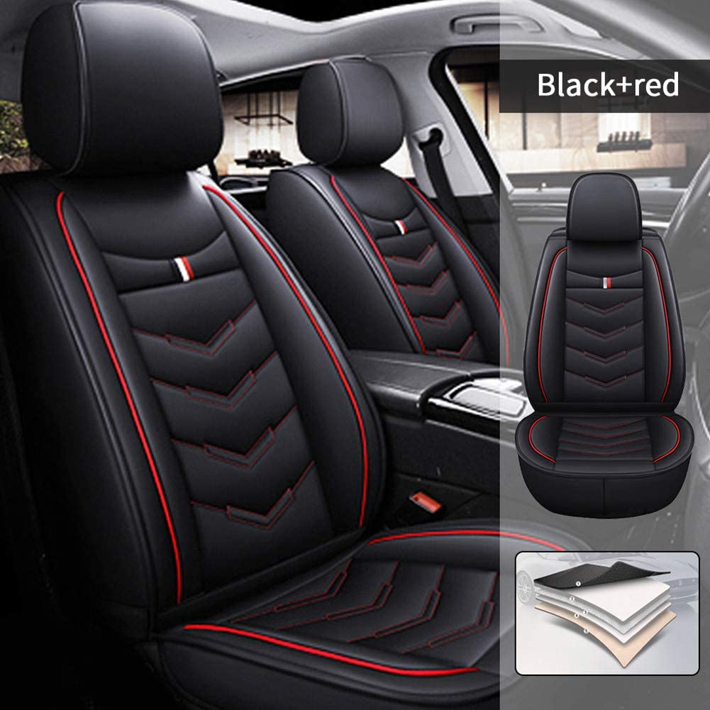 Car Seat Covers for Lincoln MKZ 2013-2020 5 Seats Full Set Car Seat Cushions PU Leather Seat Protector Black Red