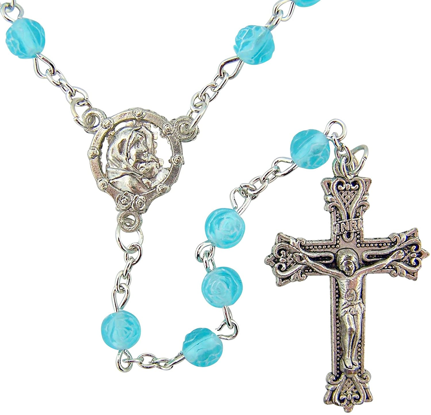 CB Womens Girls Religious Catholic Gift 6mm Acrylic Aqua Blue Rosebud Bead with Silver Tone Madonna of The Streets Center 19 Inch Rosary Necklace