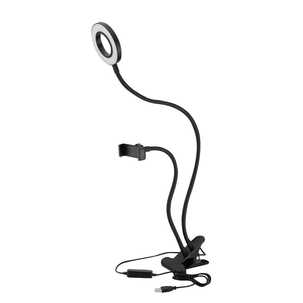Portable Selfie Ring Light 360° Long Arm Table Holder LED Fill-in Light for Live Streaming & Makeup
