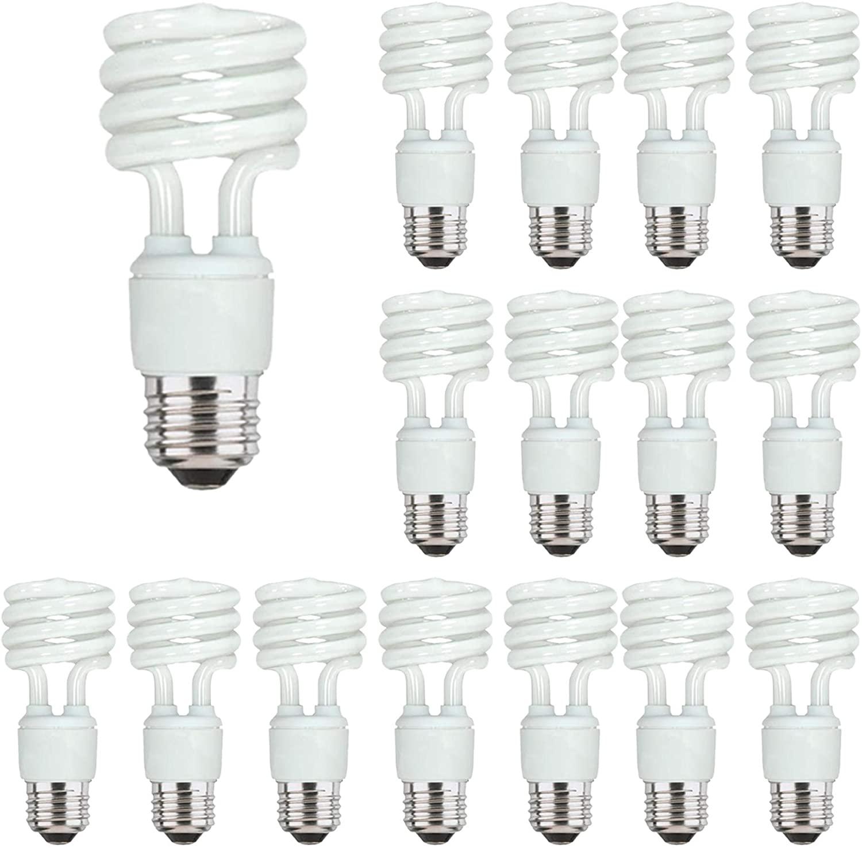 Energy Saver Light Bulbs, Cfl Light Bulbs, Spiral Light Bulbs, 13 Watt Light Bulbs Mini Twist Fluorescent Light Bulb, 3500K, 16 Pack E26 (Medium) Base, 120 Volt, 850 Lumens