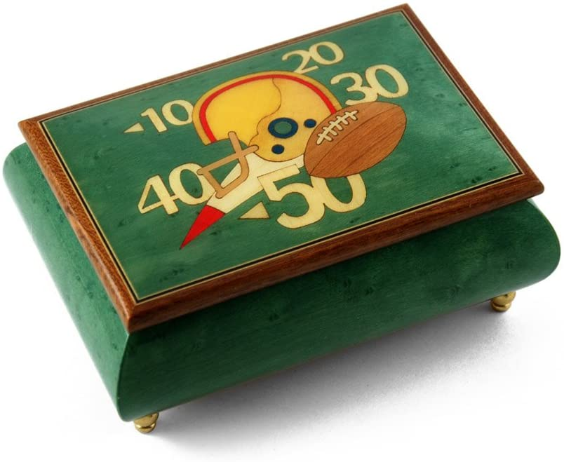 Sports Theme Wood Inlay: Football - Many Songs to Choose - Collectible 30 Note Musical Jewelry Box - Beauty and The Beast