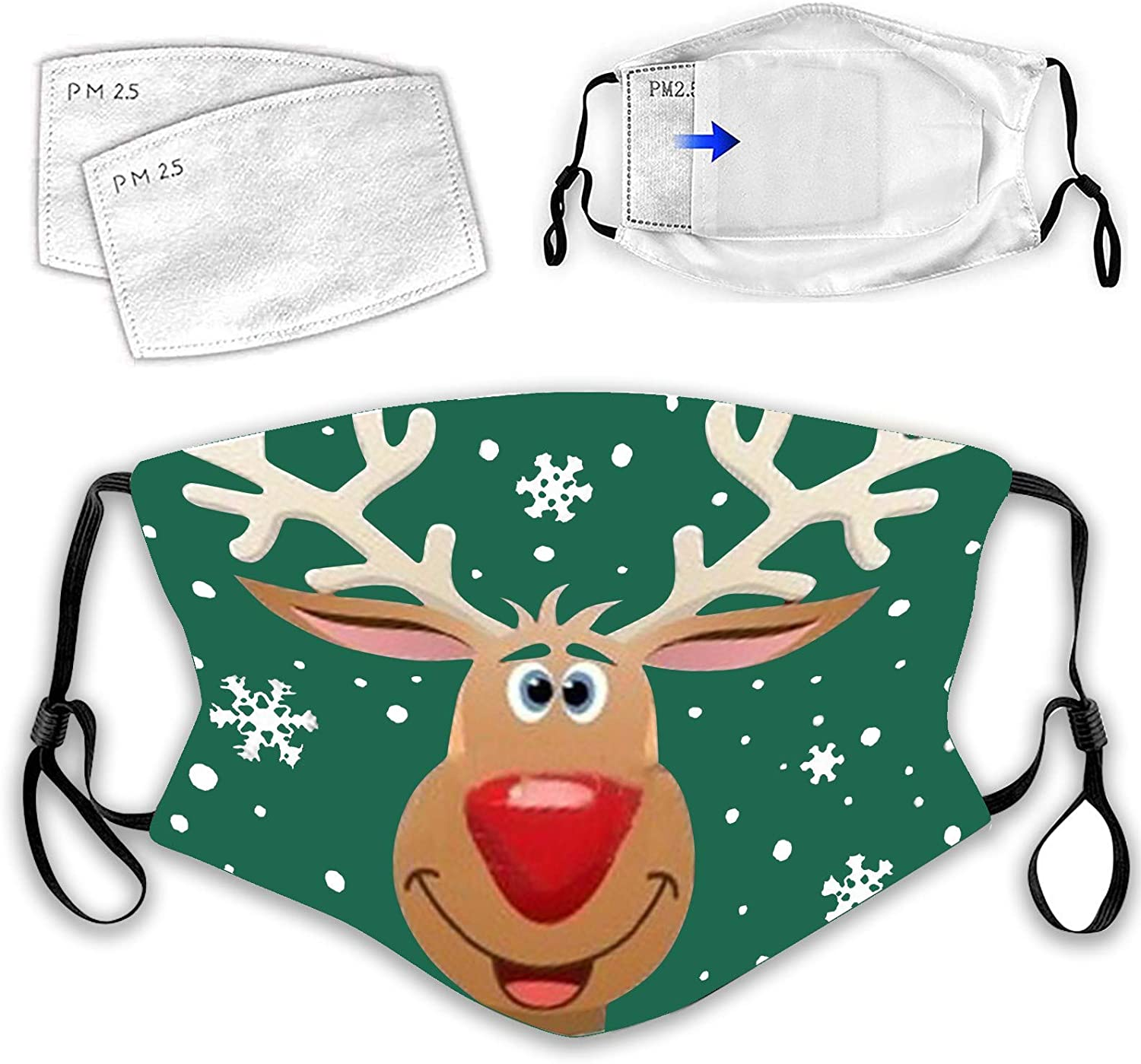 Unisex Christmas mask Face Mask Reusable Printing Mask Funny mask 1pc for Glowing Nightclub Party 1pc mask + 2pc filter