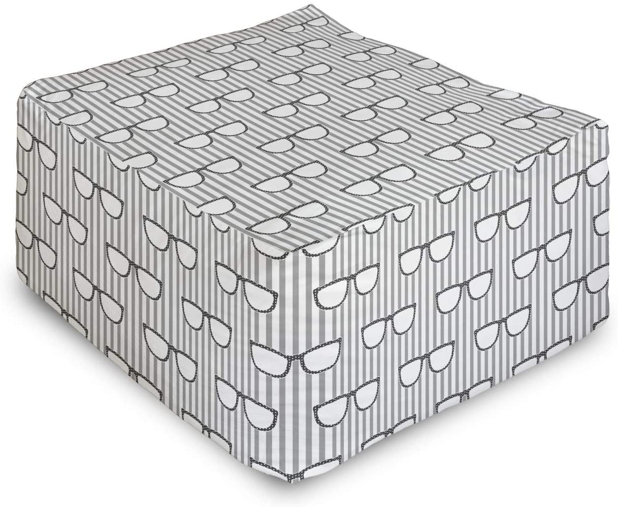 Lunarable Grey Rectangle Pouf, Groovy Popular Hipster Glass on Vertical Stripe Background Nerd Eyes Artwork, Under Desk Foot Stool for Living Room Office Ottoman with Cover, 25