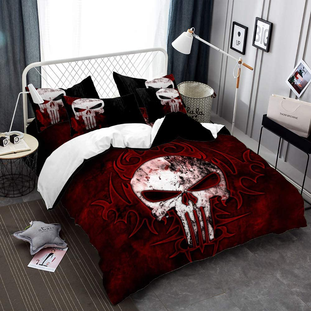 Earendel Skull Duvet Cover Set Flower Bedding Punk Gothic Bed Sets 2/3/4PCS Colorful Quilt Covers/Sheets/Pillowcases,Twin/Full/Queen/King Size (Queen-228x228cm-3PCS,1)