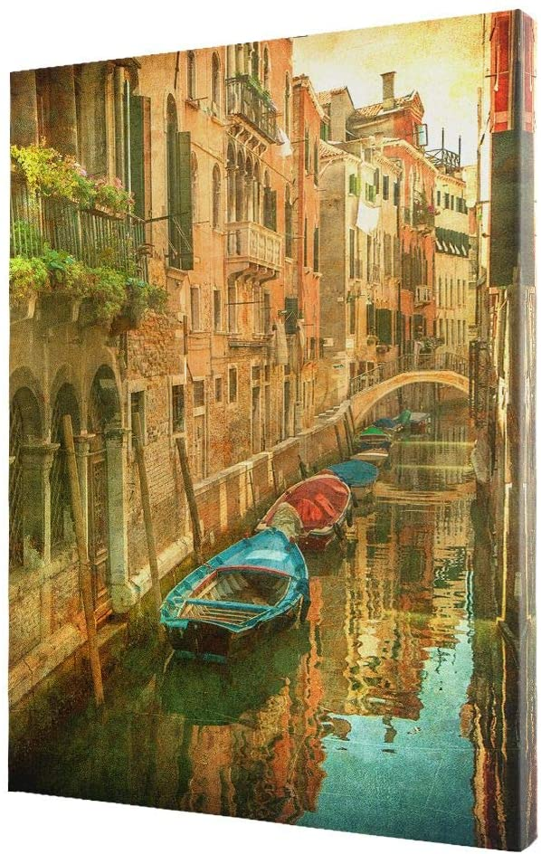 NicheCanvas - Vintage Venetian Canal, 12x18 Gallery Wrap, Ready to Hang Wall Art, Handcrafted Canvas Prints, Home and Office Decor