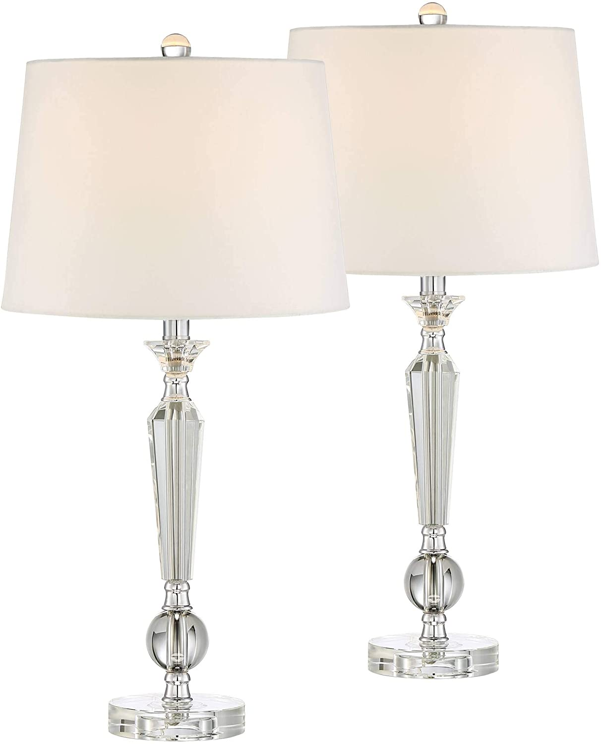 Jolie Modern Table Lamps Set of 2 with WiFi Smart Sockets Crystal Candlestick Off White Tapered Drum Shade for Living Room Bedroom Bedside Nightstand Office Family - Vienna Full Spectrum