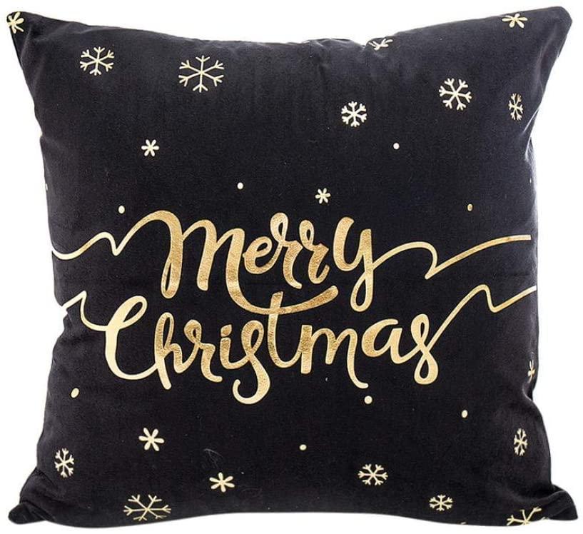 2018 New!Merry Christmas Pillow,Luxury Gold Foil Jacquard Sofa Home Decoration Festival Throw Pillow Case Zulmaliu (B)