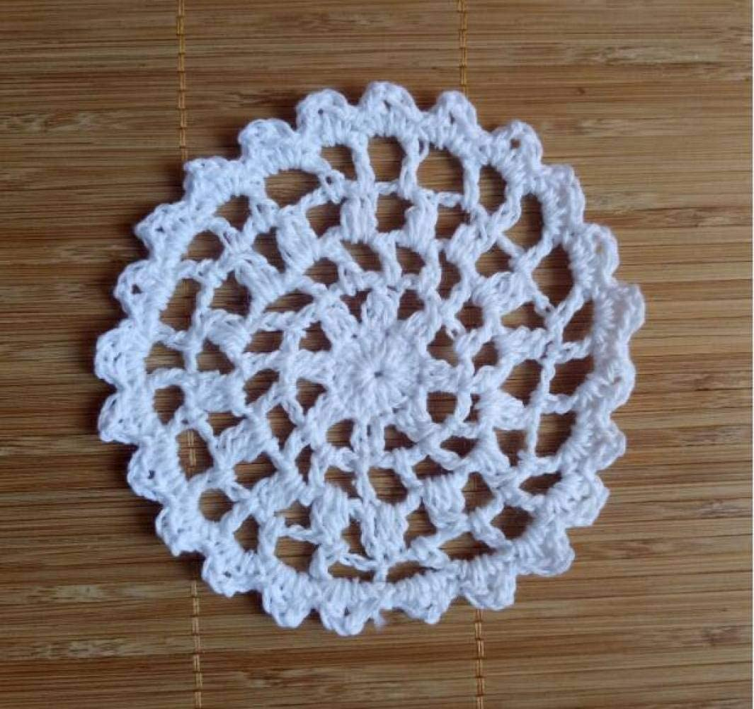 LUCACO Cotton Crochet Table Mat,Round Placemat Cup Pad,Mug Coasters Tea Coaster Doily Placemats,Kitchen Table tischset,10cm