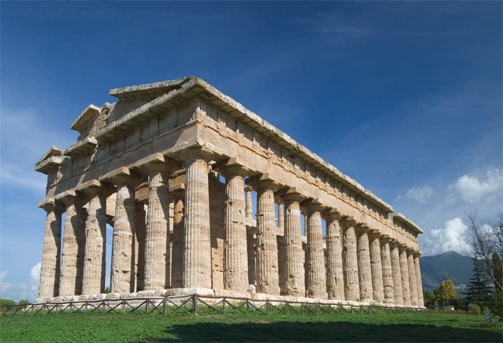OFILA Paestum Temple Backdrop 10x6.5ft Ancient Greek Architecture Photography Background Archaeology Reaearch Backdrop Classic Italy History Myth Neptune Templs Digital Studio Props