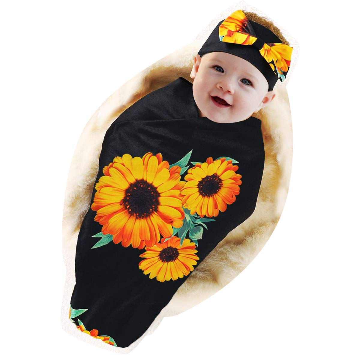 DaMohony Newborn Baby Blanket Headband Set, Toddler Sunflower Floral Swaddle Blanket with Headband Baby Sleeping Bag