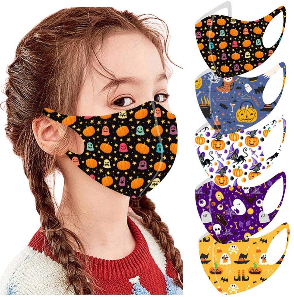 5Pcs Personalized Halloween Printed kids Reusable_Face_Masks,Face Bandanas,Face Mouth Surgical Hygiene Protection Shield,High Filtration and Ventilation Security (A)