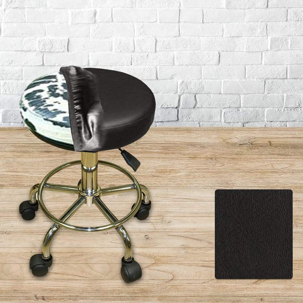 Bar Stool Cover Replacement Staple On Seat Top Made with Heavy Duty Commercial Grade Vinyl (12 inch Diameter, Black)